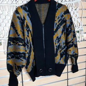 Vintage blue mustard yellow wool blousen sweater